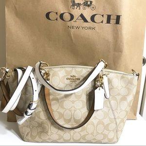 Coach Small Kaisley Cream Signature Crossbody Bag